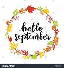 hello september trend calligraphy beautiful stock vector