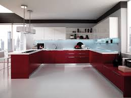 red modern kitchen high gloss flooring is very suitable to be applied for the modern