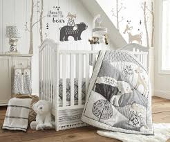levtex baby bailey charcoal and white woodland themed 5 piece crib
