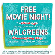 free redbox rental at walgreens today only