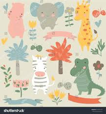 vector set safari animals cute hippo stock vector 413663173
