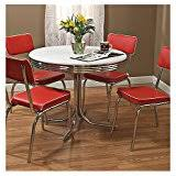 50s Dining Chairs Amazon Com Coaster 50 U0027s Retro Nostalgic Style Oval Dining Table