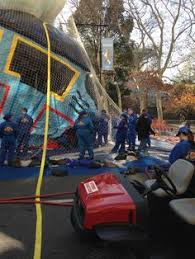 inflation of floats for macy s parade day before thanksgiving