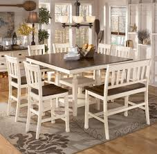 ashley dining table with bench whitesburg 8 piece square counter extension table set by signature
