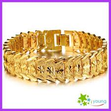 gold hand bracelet images Fashion jewelry mens accessories 18k gold plated adjustable jpg