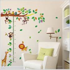 bande dessinée girafe singe arbres hauteur sticker adhésifs muraux