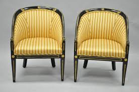 Black Accent Chair Pair Of Black Ebonized And Gold Neoclassical Barrel Back Slipper