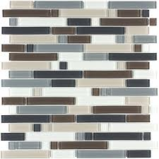 shop style selections glacier glass mosaic wall tile common 12