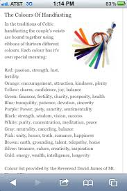 great guide to what the colors represent for the handfasting cord