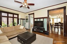 Craftsman Ceiling Fan by Craftsman Living Room With Window Seat U0026 Glass Panel Door In