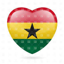 Flag Color Meanings Heart With Ghanaian Flag Colors I Love Ghana Royalty Free Vector
