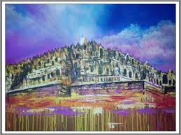 Paint Pallet by Modern Art Painting Pallet Knife Acrylic On Canvas Borobudur