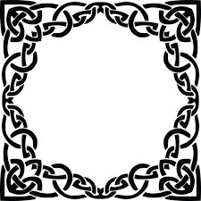 clipart of a celtic frame border design element in black and white