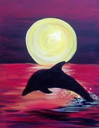 dolphin sunset painting dolphin sunset surf art u0026 paintings