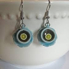 food earrings porcelain tea cup earrings food jewelry food