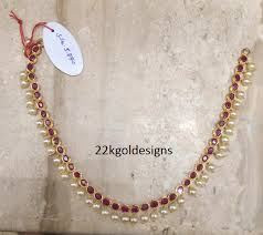 pearl ruby necklace images Simple ruby pearl necklace in light weight gold models png
