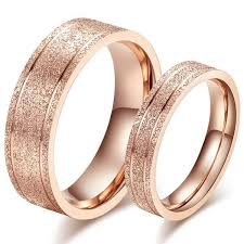 couple rings titanium images Korean stylish sandblasting craft rose gold couple rings titanium jpg