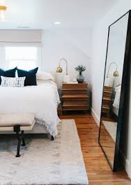 Small Bedroom Queen Size Bed End Of Bed Benches Emily Henderson