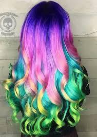 rainbow color hair ideas purple pink rainbow dyed hair color inspiration monika charleston