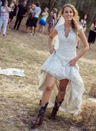 discount country style wedding dresses hi lo lace v neck short