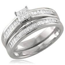 white gold bridal sets 14k white gold princess cut baguette diamond engagement bridal