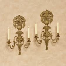 Brass Wall Sconce Double Taper Jaida Brass Wall Sconce Pair