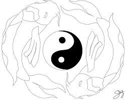 koi fishes yin yang line art by shylittleweirdo on deviantart