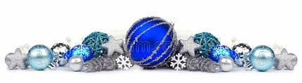 border of blue and silver ornaments white stock photo