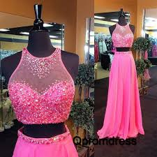 pink dress hot pink two pieces beaded handmade formal prom dress