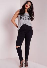 High Waisted Jeggings Plus Size Plus Size High Waisted Ripped Knee Skinny Jeans Black Missguided