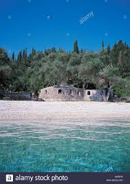house on beach greece paxos stock photo royalty free image