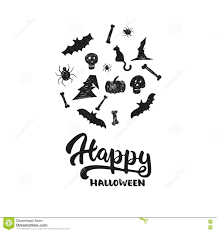 halloween sign calligraphy scary bat lettering stock illustration