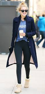 s ugg mini boots 7 ways to style your uggs this winter navy coat navy and minis