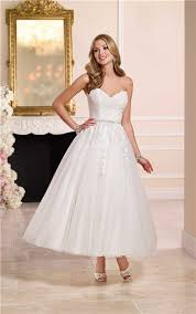 gown sweetheart tulle lace tea length wedding dress crystals belt