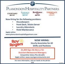 front desk jobs hiring now hiring plamondon hospitality partners