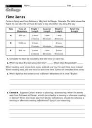 time zones 4th 6th grade worksheet lesson planet