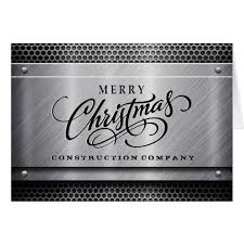 brushed steel construction business christmas card zazzle com