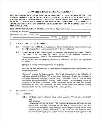 construction contract agreement printable sample construction