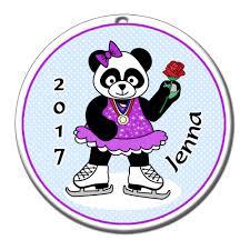 ice skating panda christmas ornament u2013 mandys moon personalized gifts