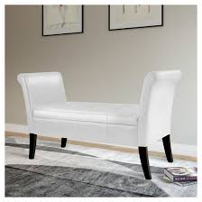 Bench With Rolled Arms Antonio Storage Bench With Scrolled Arms In White Bonded Leather