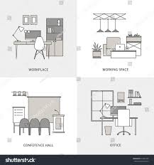 flat black white working place icons stock vector 613947632