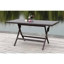 folding patio dining table safavieh 55 1 in dilettie brown rattan folding patio dining table