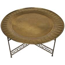 moroccan round brass tray table on iron base at 1stdibs