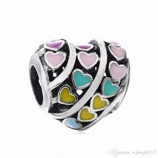 sterling silver heart bead bracelet images 2018 new authentic 925 sterling silver mixed enamel rainbow hearts jpg