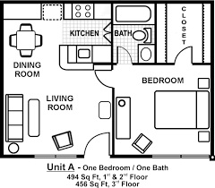 one room one bed one bath floor plan with garage pictures