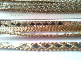 mirror border gota trim metallic golden antique ribbon craft zoom