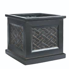 mpg 18 in square aged charcoal cast stone bombe planter pf5795ac