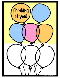 crafts balloon thinking of you coloring page