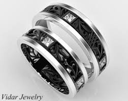black wedding band sets his and hers 14k matching wedding bands setunique matching