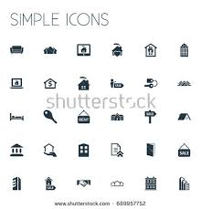 Comfortability Synonyms Real Estate Building Icon Set Thin Stock Vector 495907069